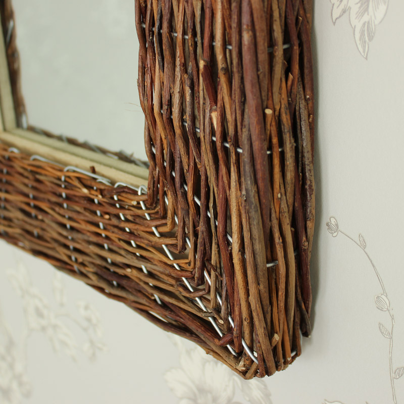 Rustic Wicker Wall Mirror