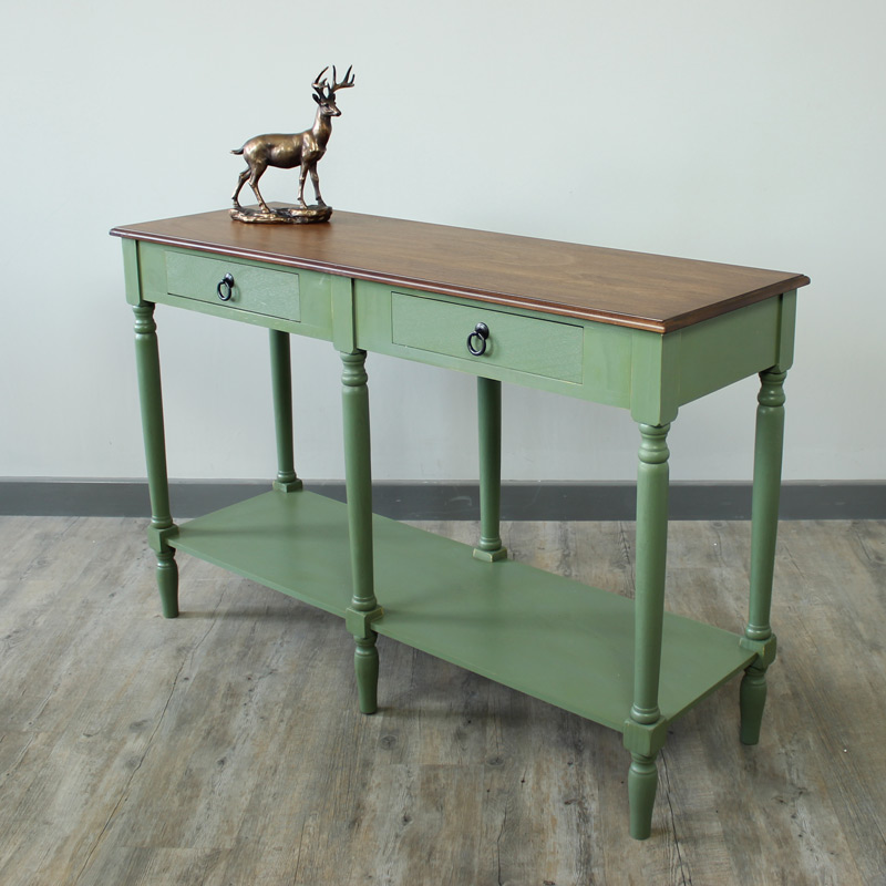 Sage Green and Honey Console Table