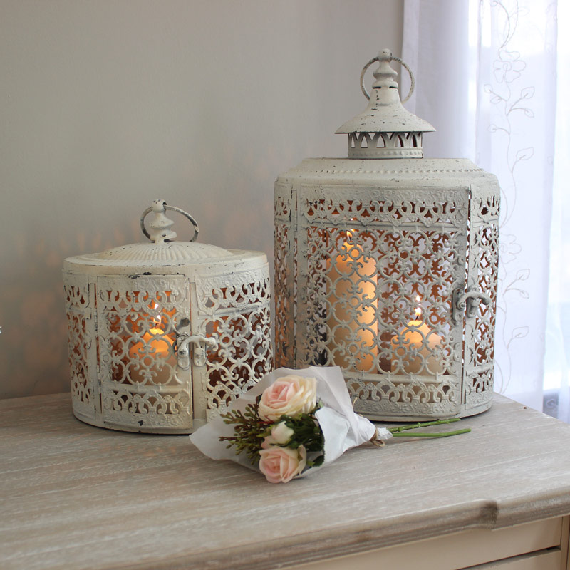 Set of 2 Antique White Lanterns