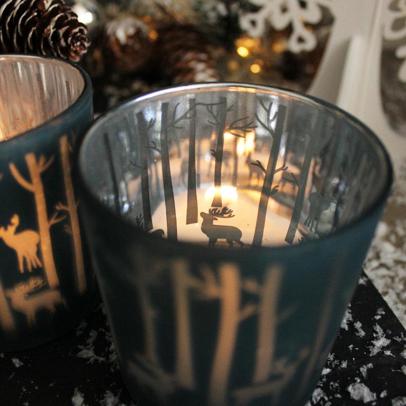 Set of 2 Blue Glass Reindeer Tealight Holders