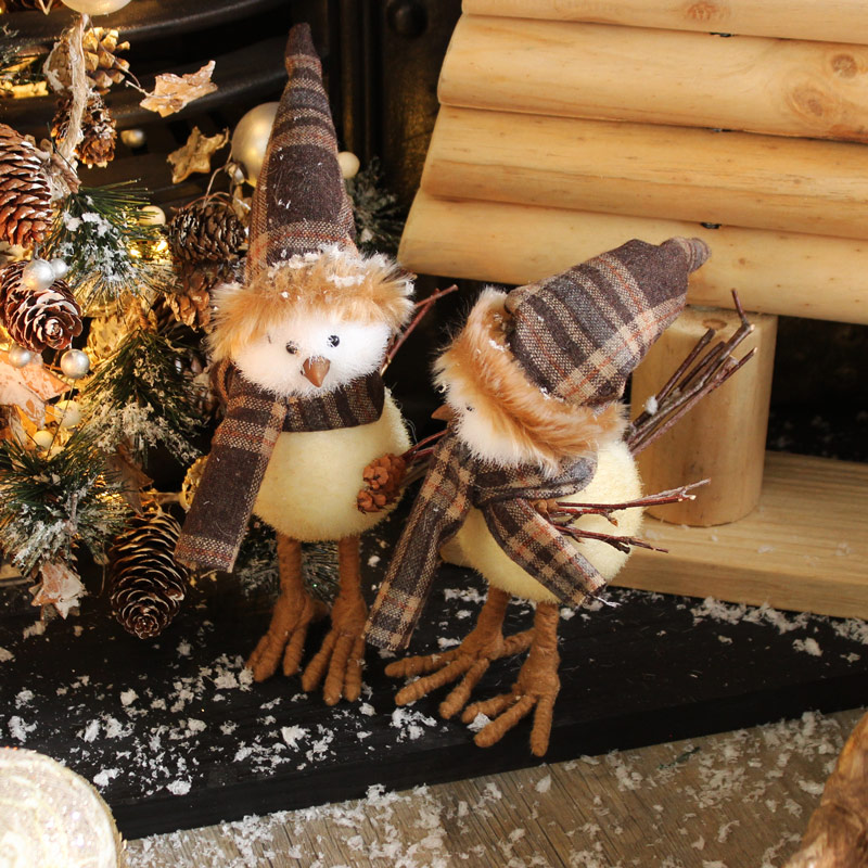 Set of 2 Fluffy Christmas Bird Decorations
