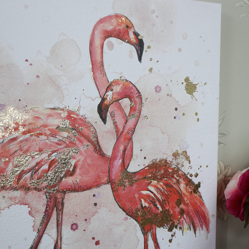 Set of 2 Pink Flamingo Watercolour Painting Canvas Wall Prints