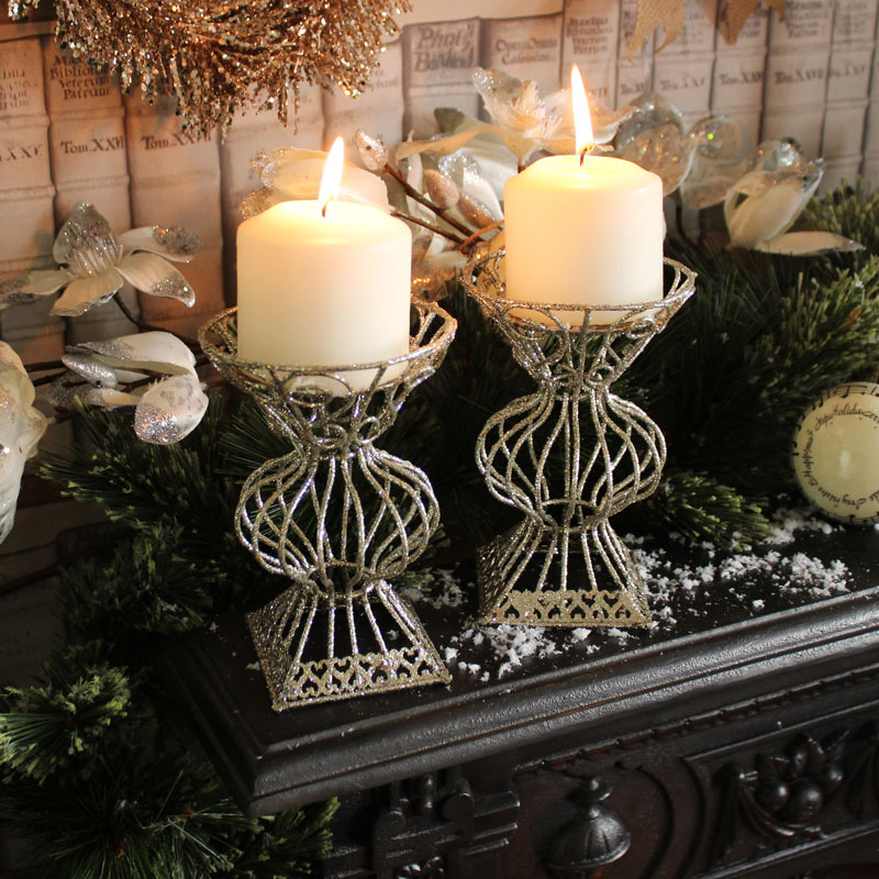 Set of 2 Silver Candle Holders