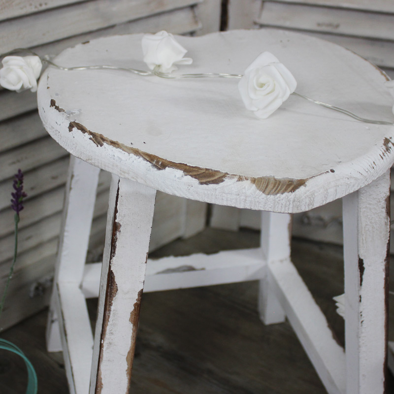 Set of 2 white heart stools