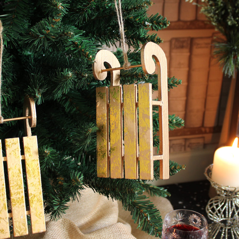 Set of 3 Gold Hanging Sleigh Decorations