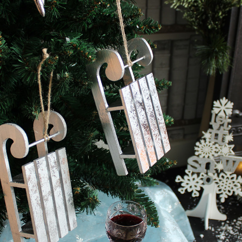Set of 3 Silver Hanging Sleigh Decorations