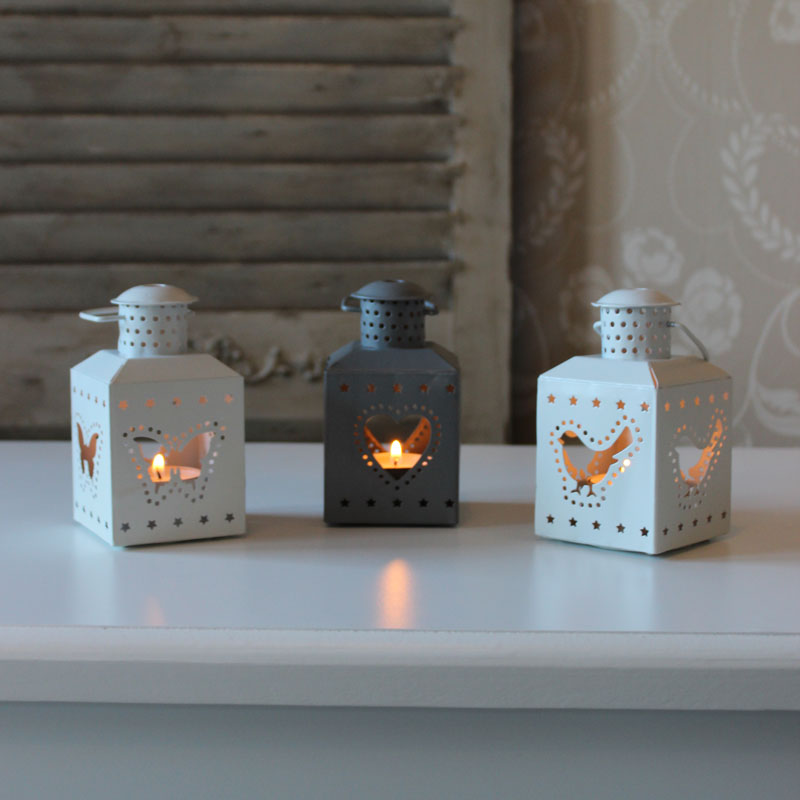 Set of 3 Tealight Lanterns white grey