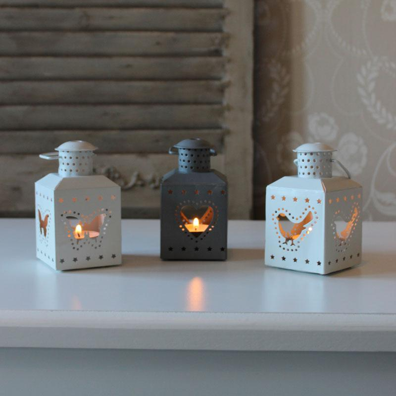 Set of 3 Tealight Lanterns in White & Grey
