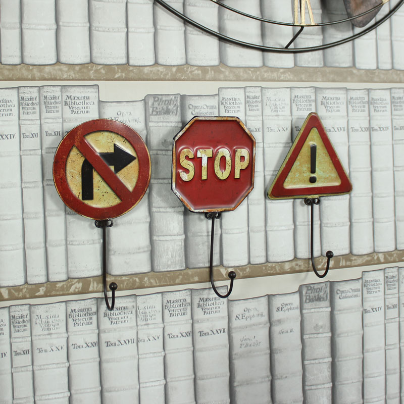 Set of 3 Traffic Sign Wall Hooks