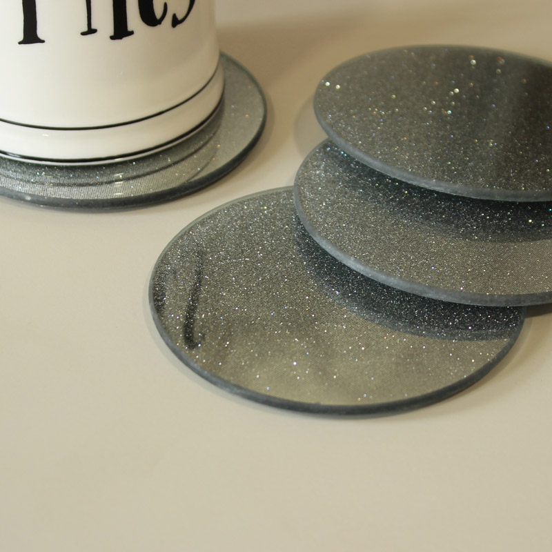Set of 4 Silver Glitter Mirrored Coasters