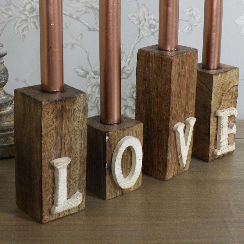 Set of 4 Wooden LOVE Letter Candle Holders