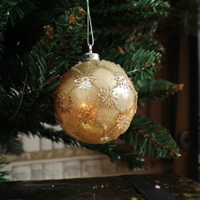 Set of 6 Gold Flower Christmas Baubles