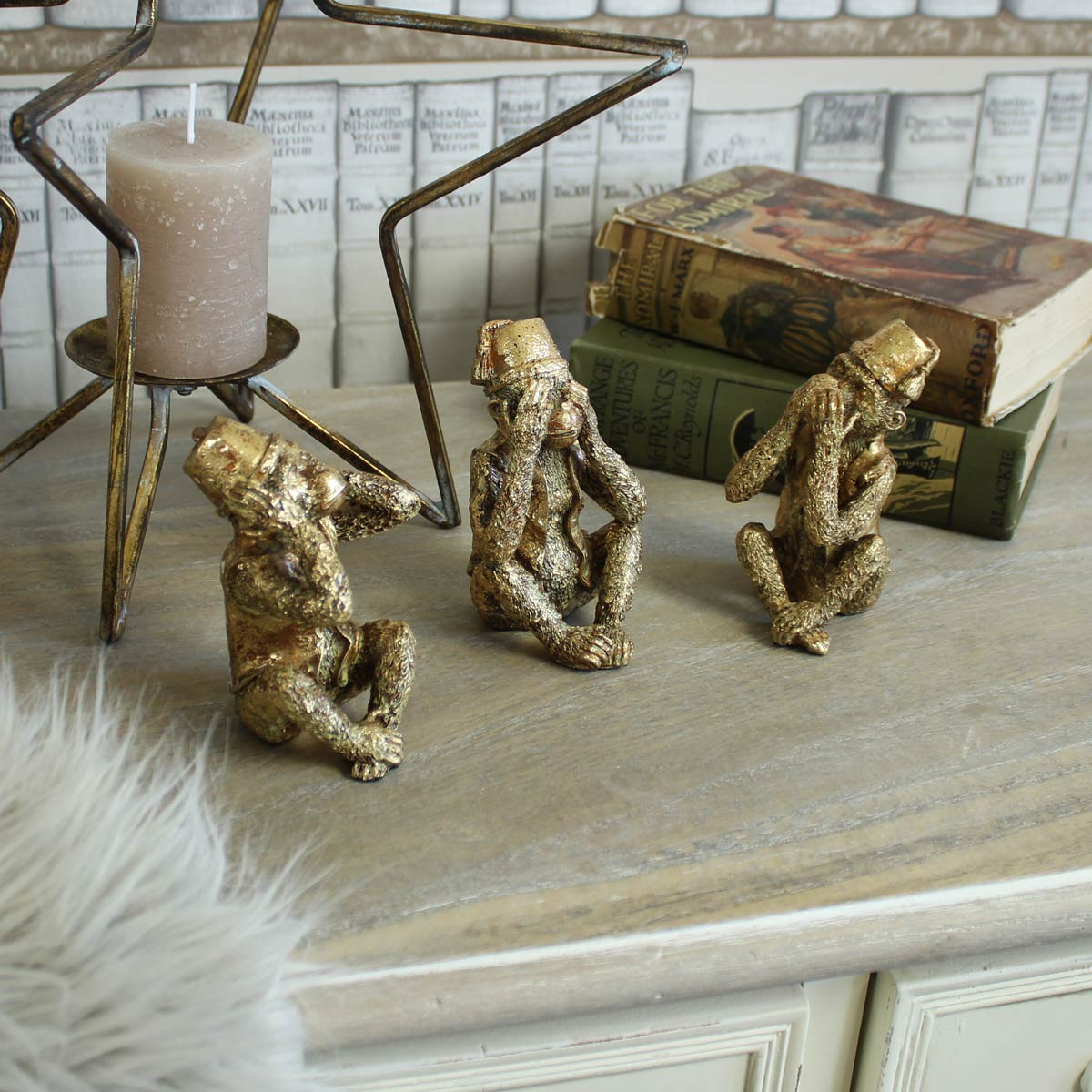 Set of Gold Three Wise Monkeys