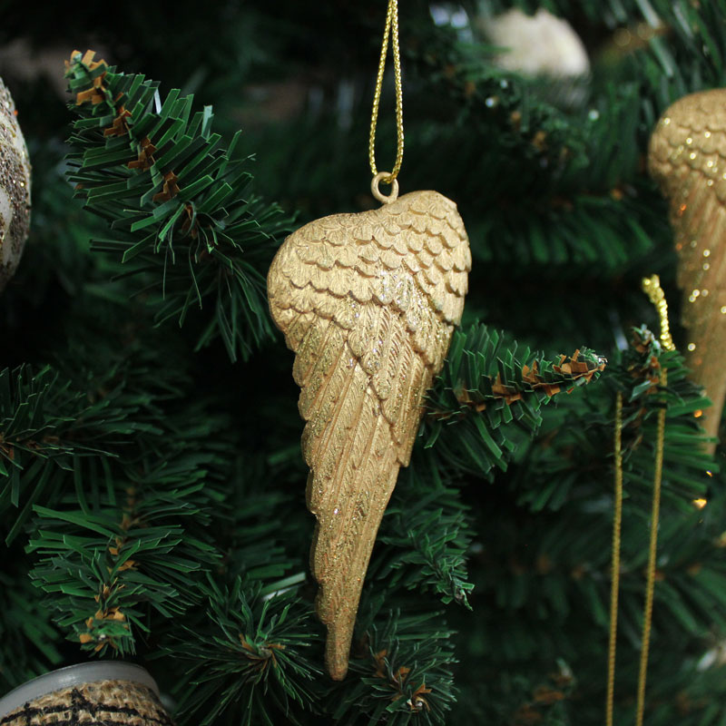 Set of Three Gold Hanging Angel Wings