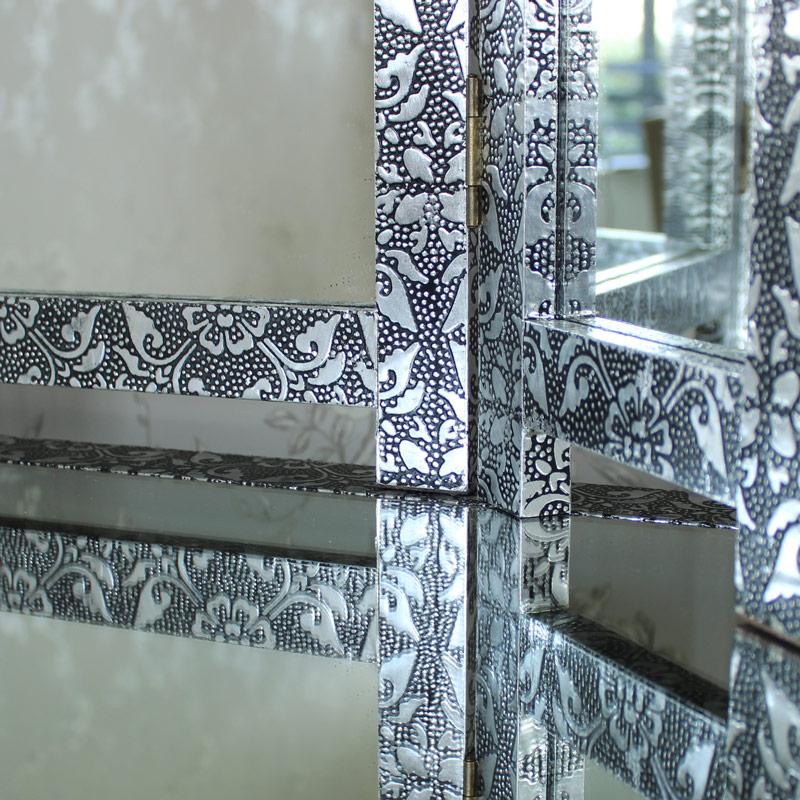 Silver Embossed Table Top Triple Vanity Mirror - Monique Range