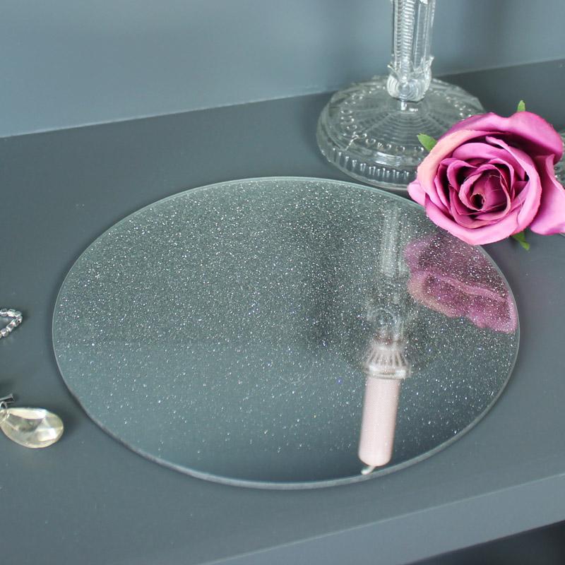 Silver Glitter Mirrored Plate
