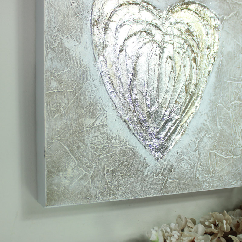 Silver Love Heart Canvas Wall Art - Melody Maison® & Amazing Pictures And Wall Art Uk Photo - Wall Painting Ideas ...