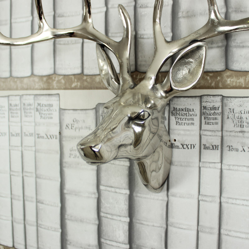 Silver Metal Stags Head