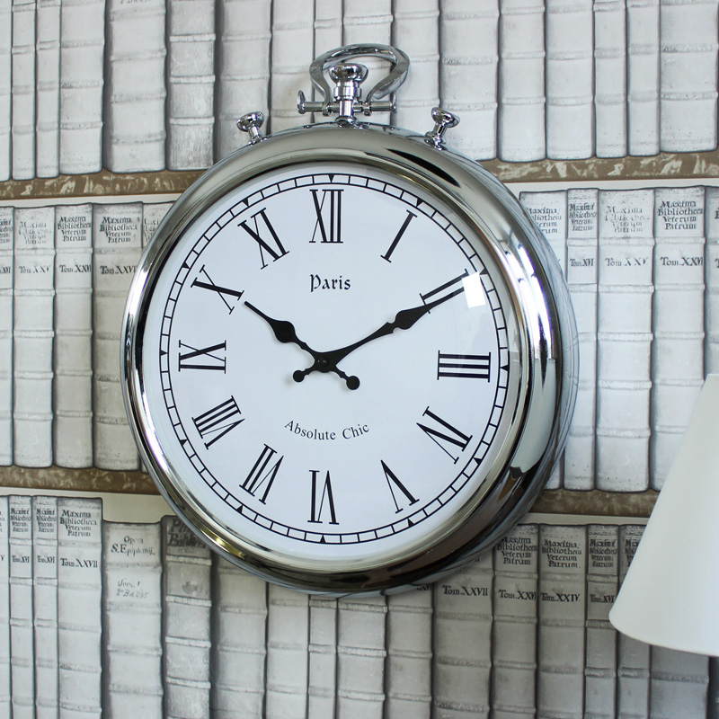 silver metal stopwatch style wall clock silver metal stopwatch style wall clock