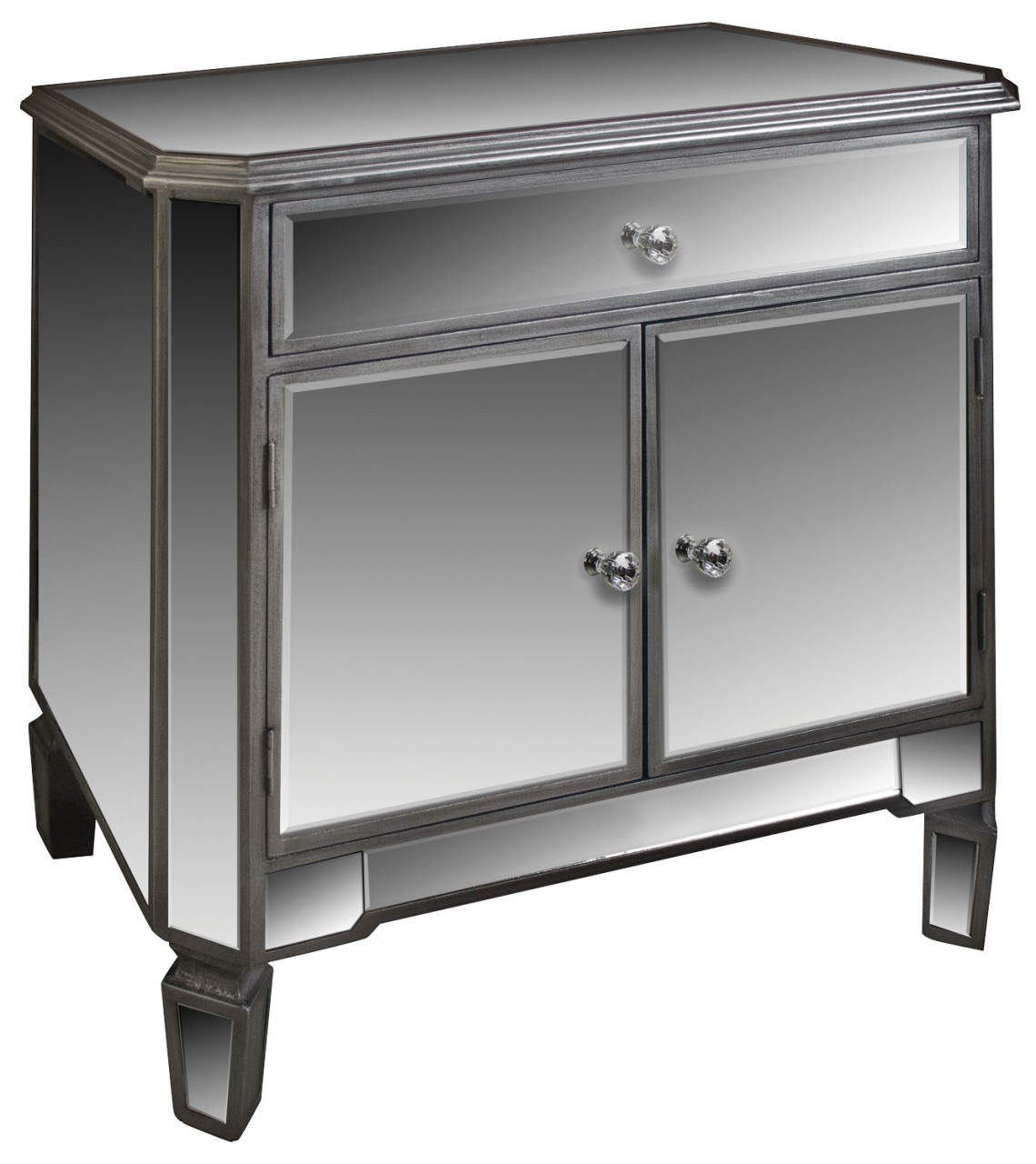 Silver mirrored 1 drawer sideboard cupboard unit for Mirrored drawer unit