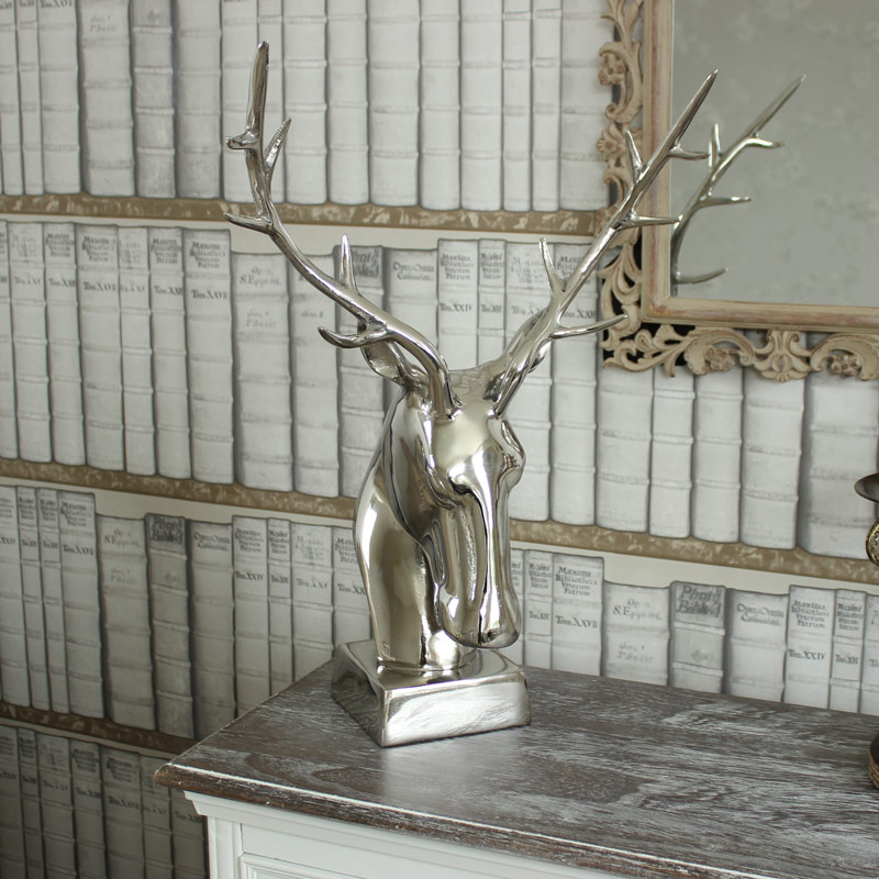 Silver Standing Stag Head