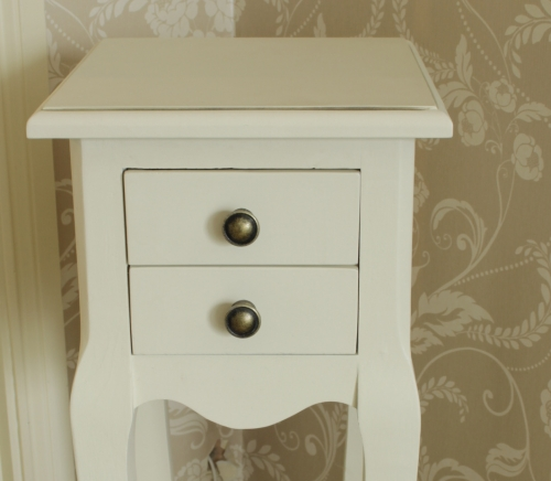 Slim Cream Bedside Lamp Table Shabby Vintage Chic French