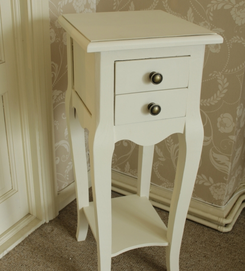 Small cream 2 drawer bedside table ivory bedroom bathroom storage lamp side table cabinet French chic