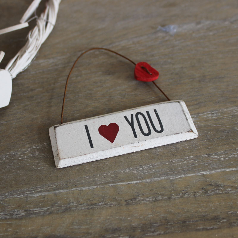 Small 'I love You' Hanging Plaque