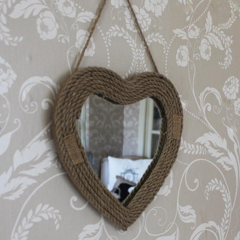 Small rope hanging heart mirror melody maison for Small hanging mirror