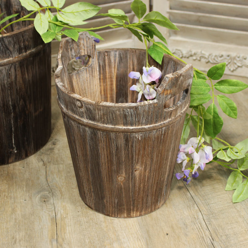 Small Rustic Wooden Bucket