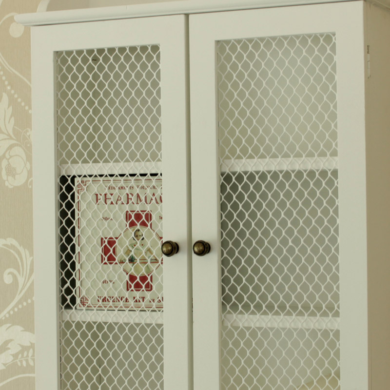 Small White Mesh Fronted Wall Cabinet