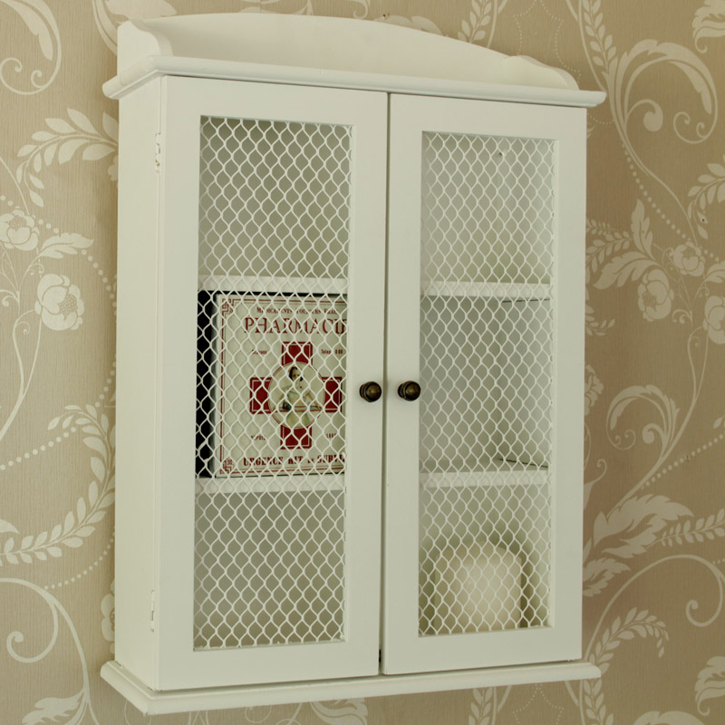 Small White Mesh Fronted Wall Cabinet Melody Maison