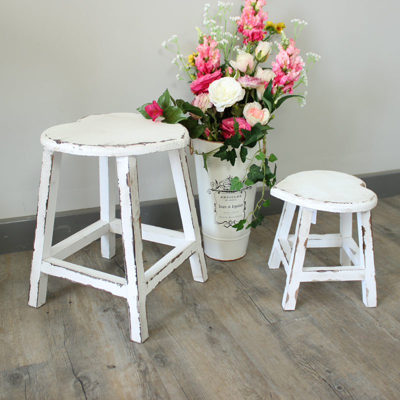 Small White Painted Wooden Heart Stool Shabby French Chic