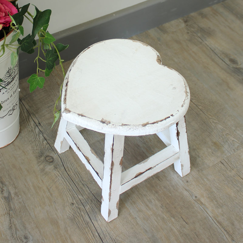Small White Wooden Heart Stool Melody Maison 174