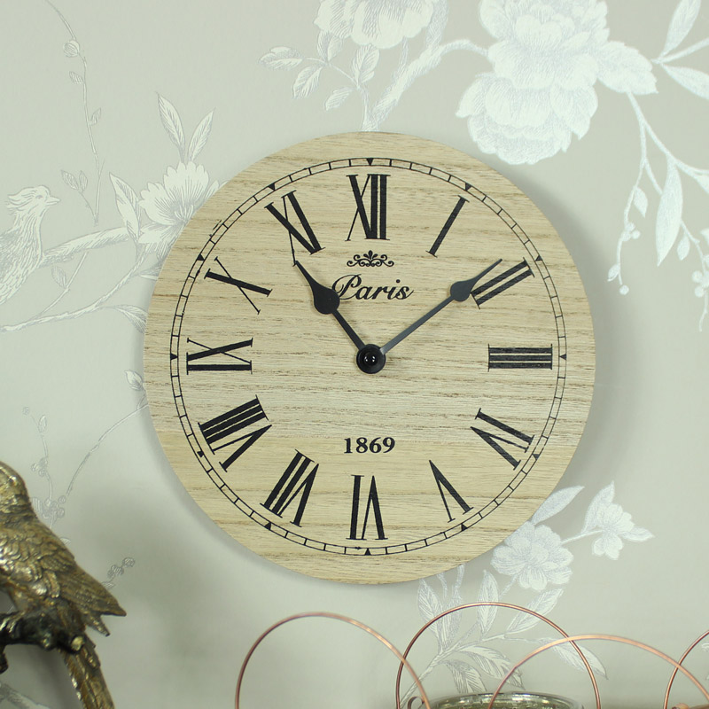 Small wooden black wall clock paris vintage chic kitchen - Small kitchen clock for wall ...