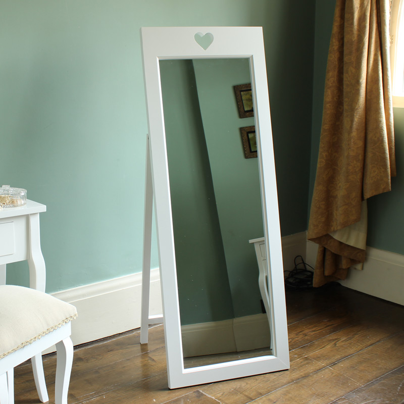 Sophia heart range white cheval mirror melody maison for Long stand up mirror
