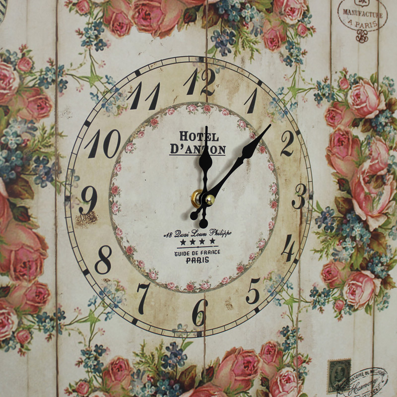 Square Floral Wall Clock