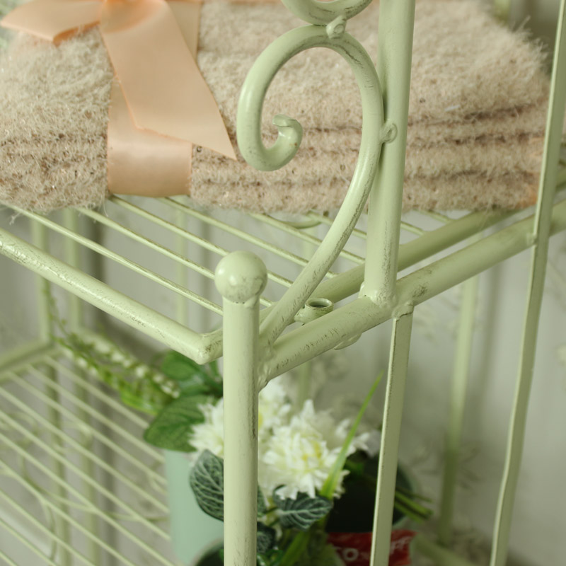 Tall Cream Metal Shelf Unit