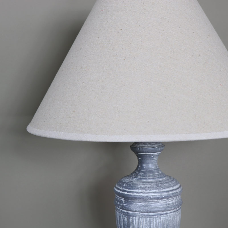 Tall Ornate Vintage Grey White Washed Wooden Table Lamp