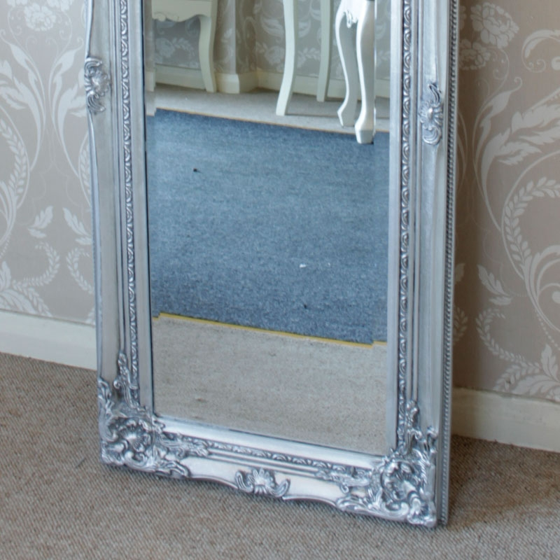 Tall Silver Ornate Mirror