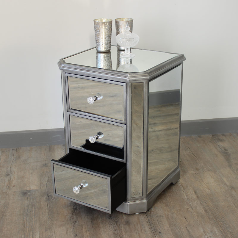 The Angelina Range - Mirrored Bedside Table