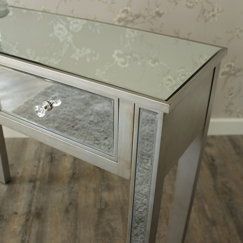 Silver mirror console dressing table shabby ornate chic for Range dressing table
