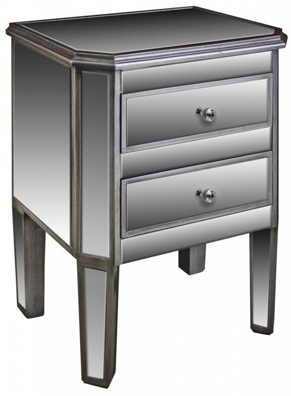 The Angelina Range - Mirrored Two Drawer Bedside Table