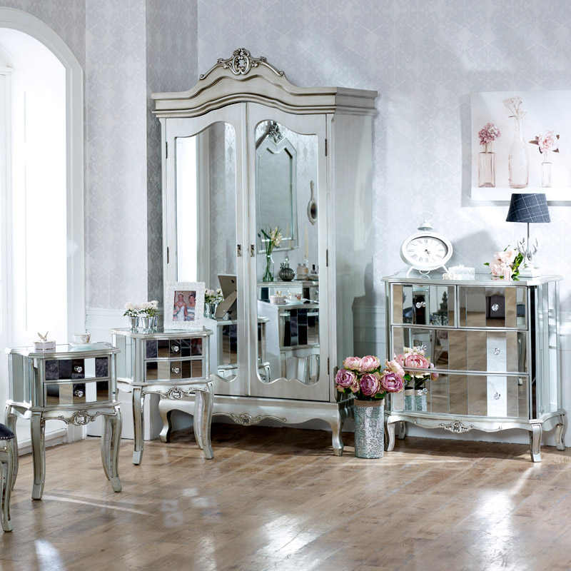 Bedroom Furniture Set, Mirrored Double Wardrobe, Chest Of Drawers And Pair  Of Bedside Chests   Tiffany Range