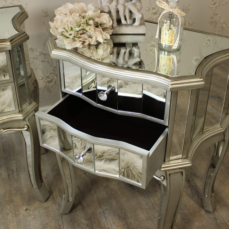 Pair Mirrored Venetian Bedside Cabinet Lamp Table Bedroom Furniture Silver Glass Ebay