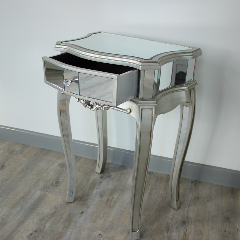 Silver mirrored bedside table tiffany range melody maison for Mirror bedside table