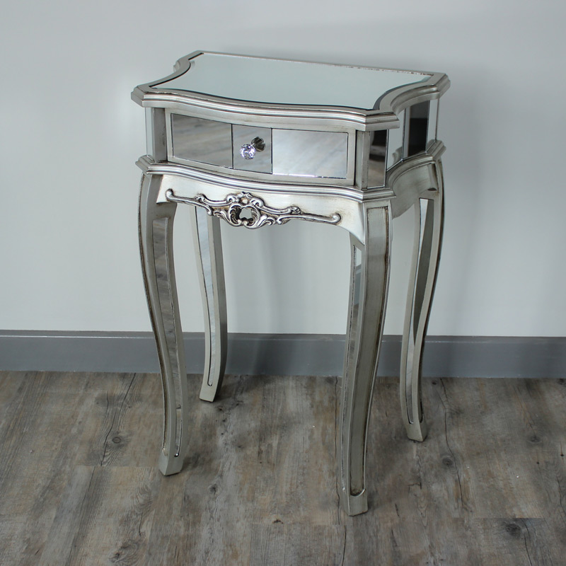Silver mirrored bedside table tiffany range melody maison for Mirror bedside cabinets