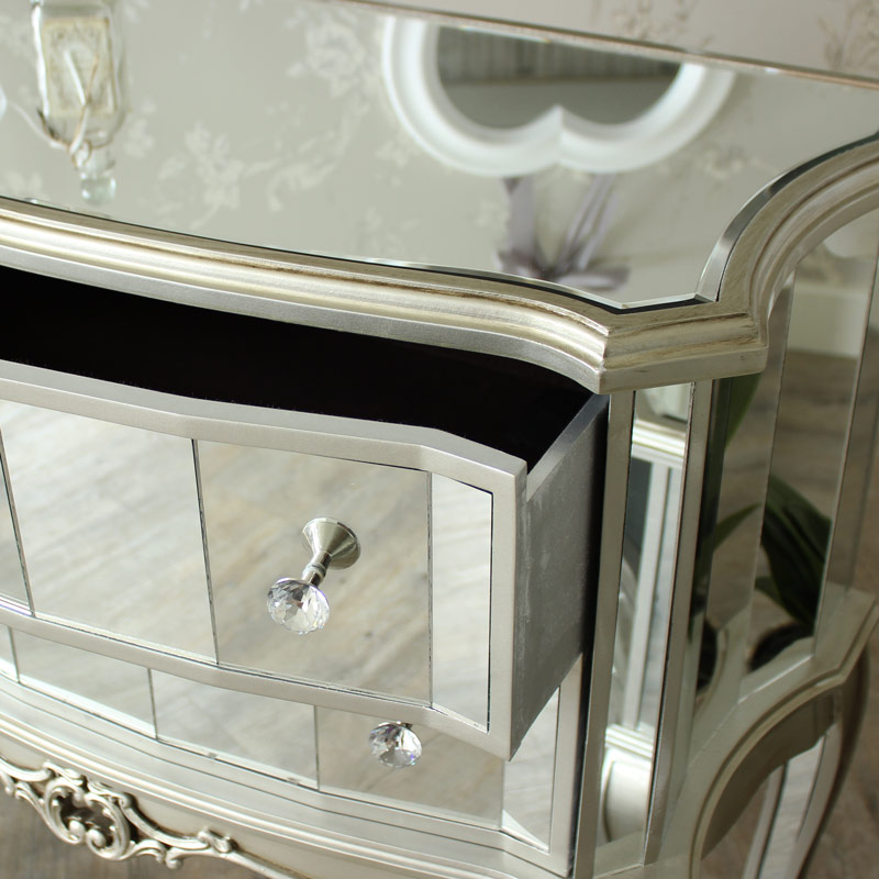 Tiffany Range - Silver Mirrored Chest of Drawers