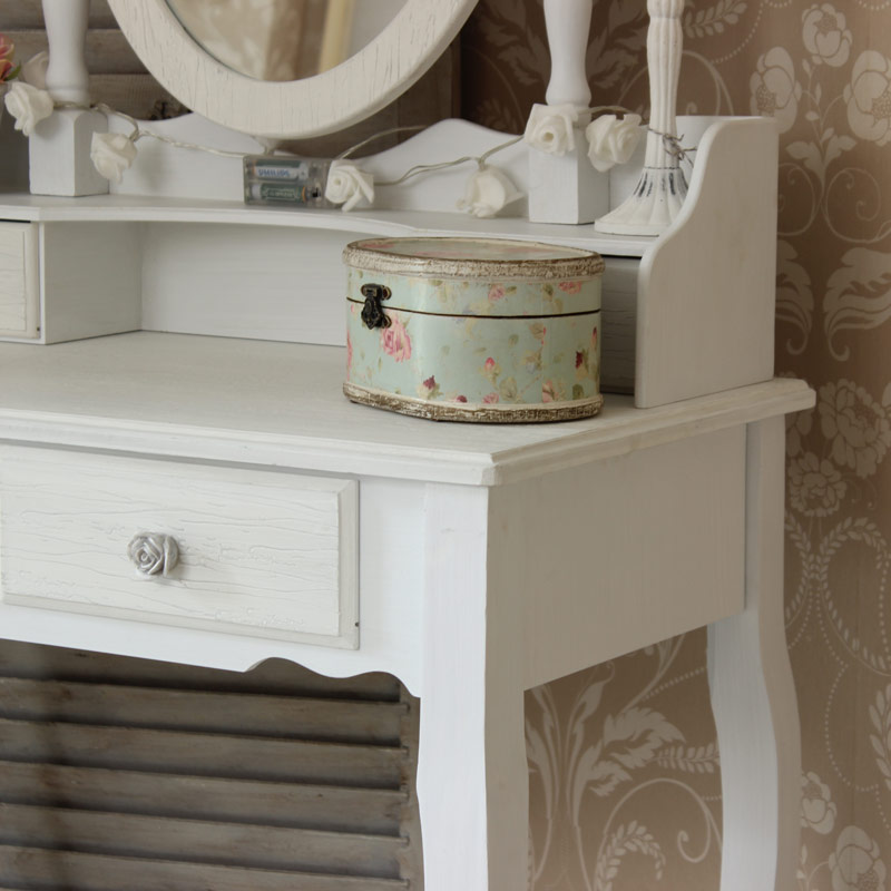 White wooden dressing table set mirror shabby french chic for Range dressing table