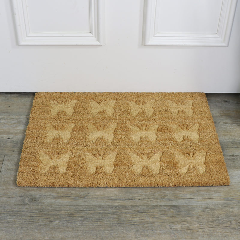 Traditional Coir Butterfly Pattern Door Mat
